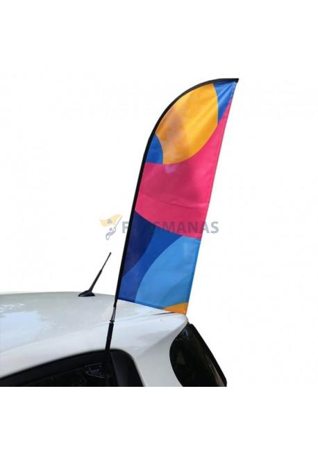 Automobilinė reklaminė vėliava Straight, su stoveliu