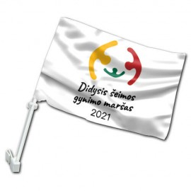 Didžiojo Šeimos Gynimo Maršo 2021 automobilinė vėliavėlė su koteliu
