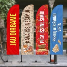 Reklaminės vėliavos paruoštais dizainais